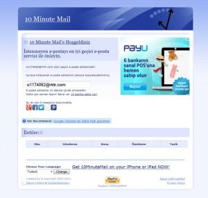 Geçici E-Posta Hesabı